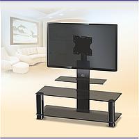 Стеклянная тумба с кронштейном для телевизора Эффект Black (1050х420х1050), фото 1