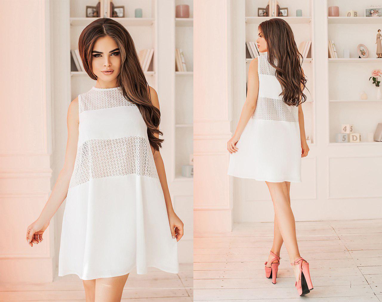 Модное короткое комбинированное женское платье А-силуэта. 3 цвета. Размеры : 42,44,46.