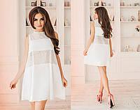 Модное короткое комбинированное женское платье А-силуэта. 3 цвета. Размеры : 42,44,46., фото 1