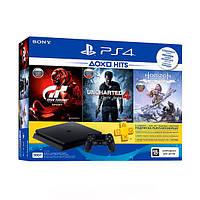 Игровая приставка Sony PlayStation 4 Slim 500 Gb (HZD+GTS+UC4+PSPlus 3M) Black -9395270