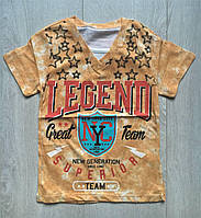 """Дитяча футболка для хлопчика від 2 до 5 років, """"Legend"""", гірчичного кольору"""