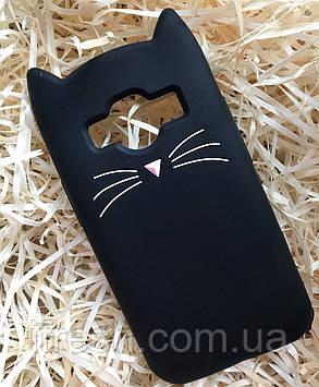 Чехол Кот для Samsung J1 Ace, черный