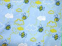 Ткань плащевка принт Голубая с пчелками