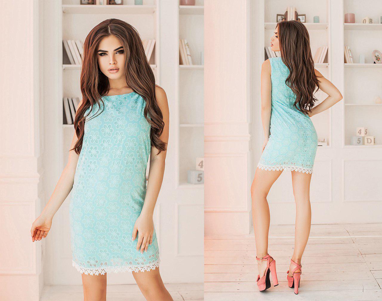 Элегантное летнее короткое женское платье из прошвы. 2 цвета. Размеры : 42,44,46.