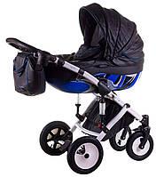 Коляска 2 в 1 Tako (Junama) Impulse motostyle  №694 черная кожа - синий, фото 1