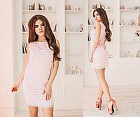 Элегантное летнее короткое женское платье из прошвы. 2 цвета. Размеры : 42,44,46. 42, Розовый