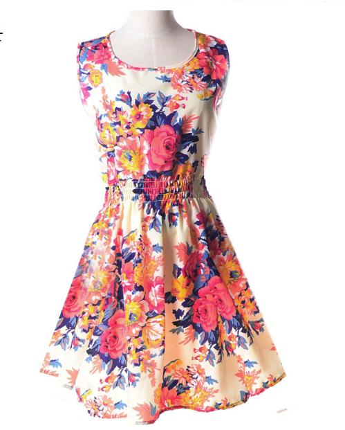 Платье сарафан летнее с  принтом Цветы  Liva Girl