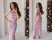 Стильное повседневное трикотажное длинное в пол женское платье. 2 цвета. Размеры : 42,44,46., фото 1
