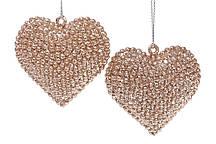 Набор елочных украшений Сердце, 2 шт, цвет - медный глитер