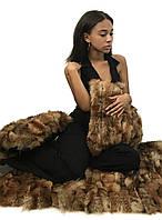 Комплект одеяло-ковер и две декоративные подушки из натурального меха лисы 120*70 RO-1426