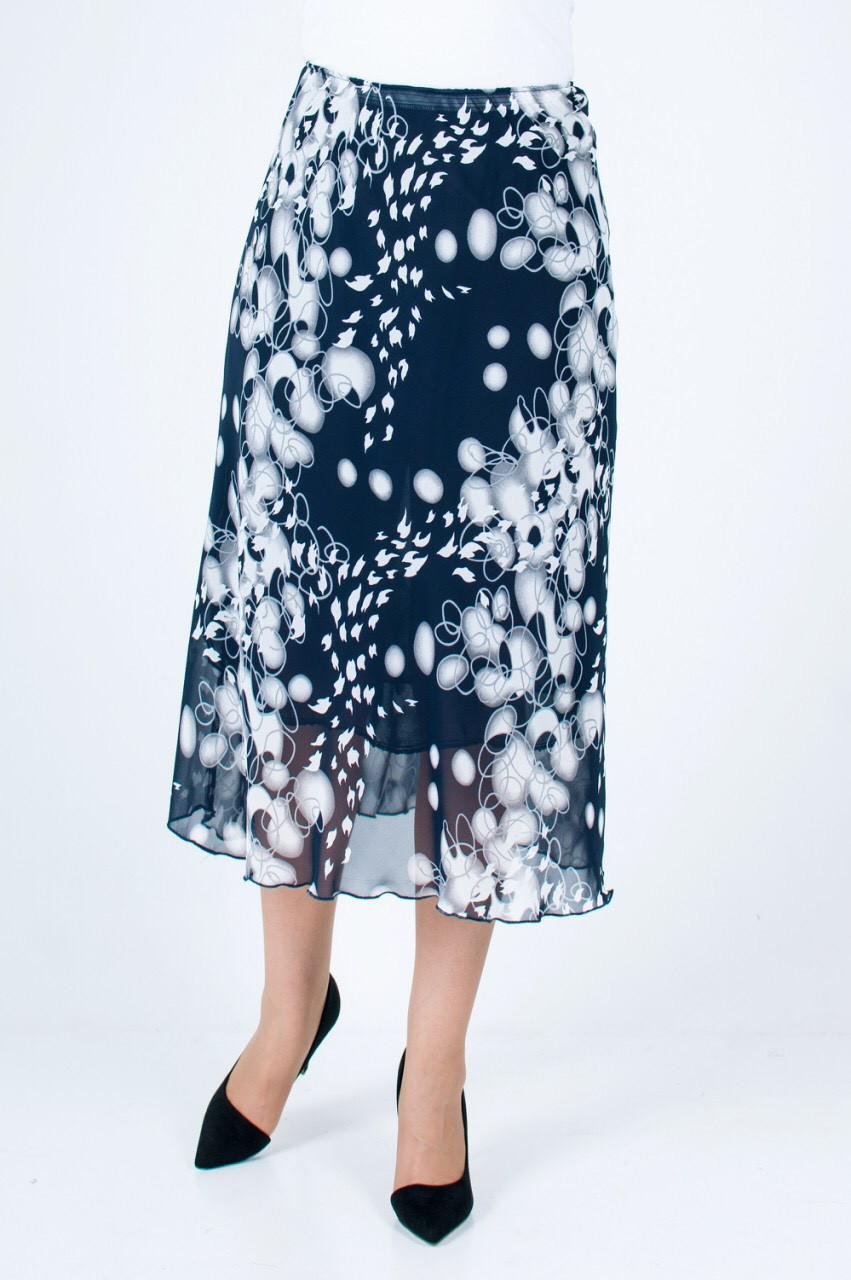 Женская летняя юбка Шелли синяя с светлым принтом