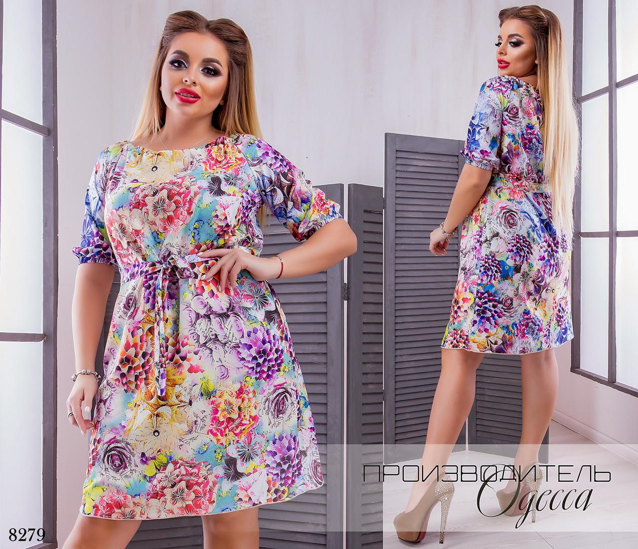 Платье летнее принт цветочный софт 50-52,54-56,58-60,62-64