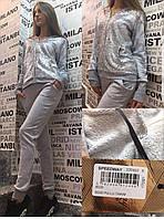 Прогулочный костюм с паетками на змейке Speedway Турция серый