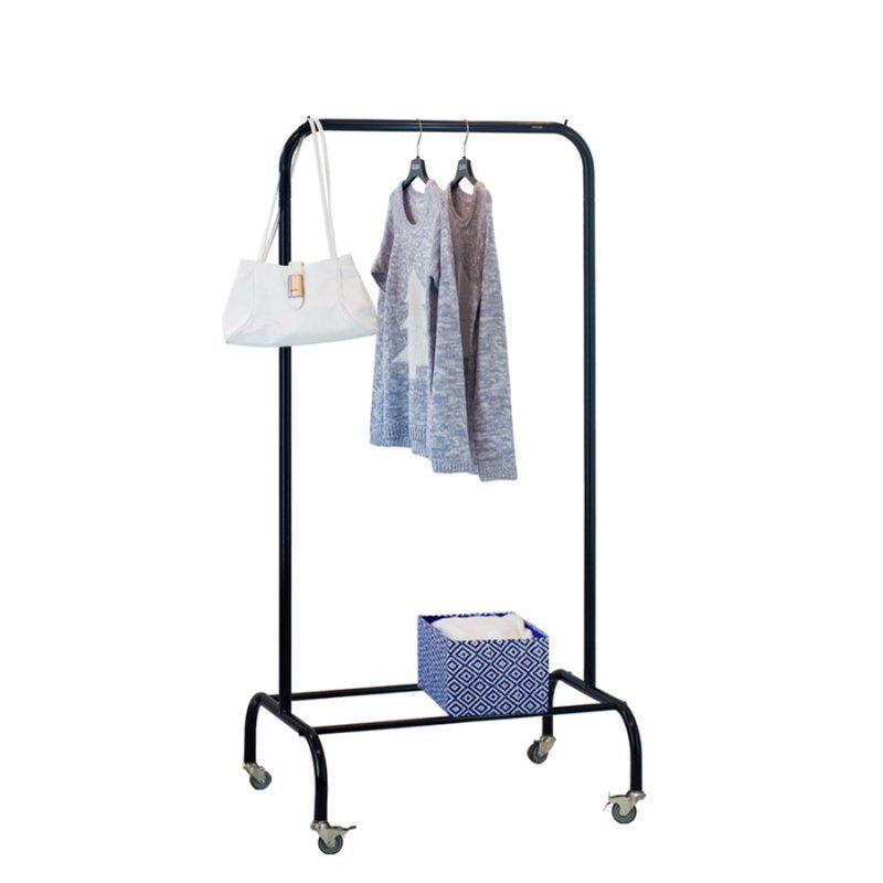 Стойка для одежды на колесиках Лофт 1А пром черная (металл)