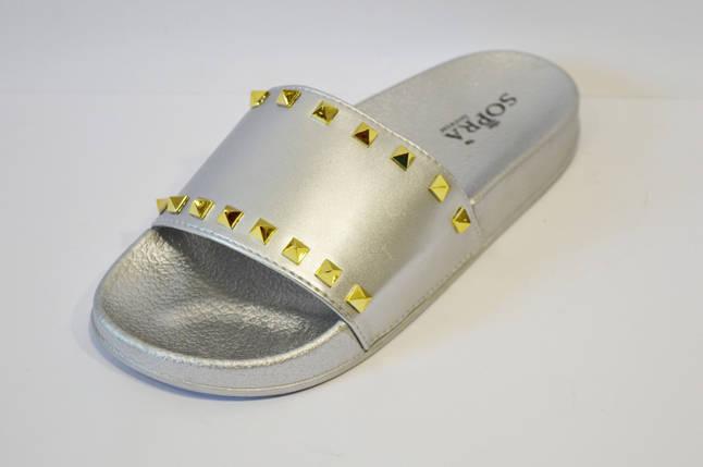 Шлепанцы серебристые с шипами Sopra PM755, фото 2