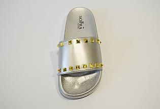 Шлепанцы серебристые с шипами Sopra PM755, фото 3