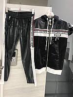Костюм спорт-шик на змейке с капюшоном Бантик RAW Турция люкс черный