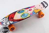 Скейт Пенни Борд Print, Penny Board Original 22 c Рисунком Face and Glasses 2