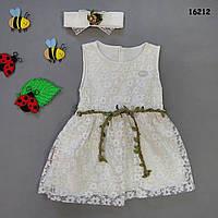 Нарядное платье с повязкой для девочки.  74 см