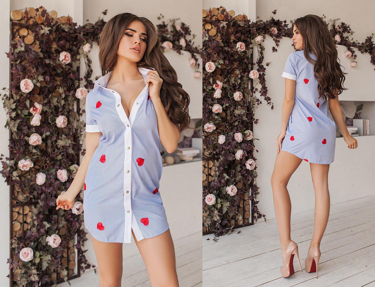 Короткое летнее платье-рубашка с вышивкой с коротким рукавом. 5 цветов. Размеры : 42,44,46.