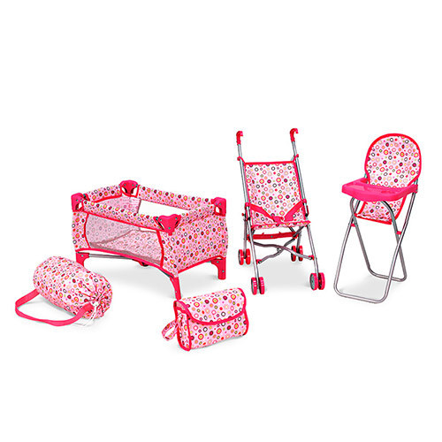 Игровой кукольный набор MELOGO 4в1 с коляской,сумкой,стульчиком и мане
