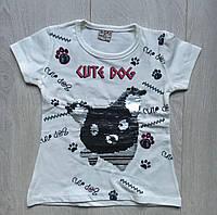 """Футболкадетскаядля девочек 2-5лет, """"Cute dog"""", белого цвета"""