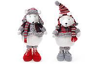 Мягкая новогодняя игрушка Мишка 54см, 2 вида, цвет - белый с красным