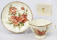 Чашка фарфоровая с блюдцем 220мл Корейская роза