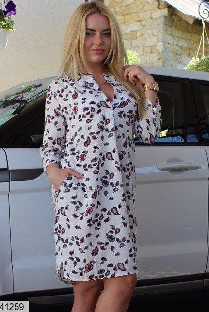 Летнее платье рубашка короткое свободное штапель белое с принтом