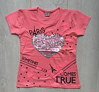 """Футболка подростковаядля девочек 9-12 лет, """"Paris"""", кораллового цвета"""