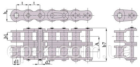 Цепи 2ПР 15,875-4540 (ISO 10В-2), фото 3