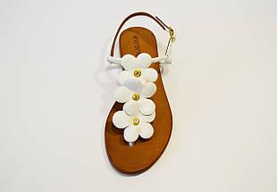 Босоножки белые с кожанами цветами Euromoda 808, фото 3