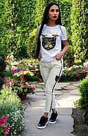 Женские стильные летние брюки с аппликацией, фото 1