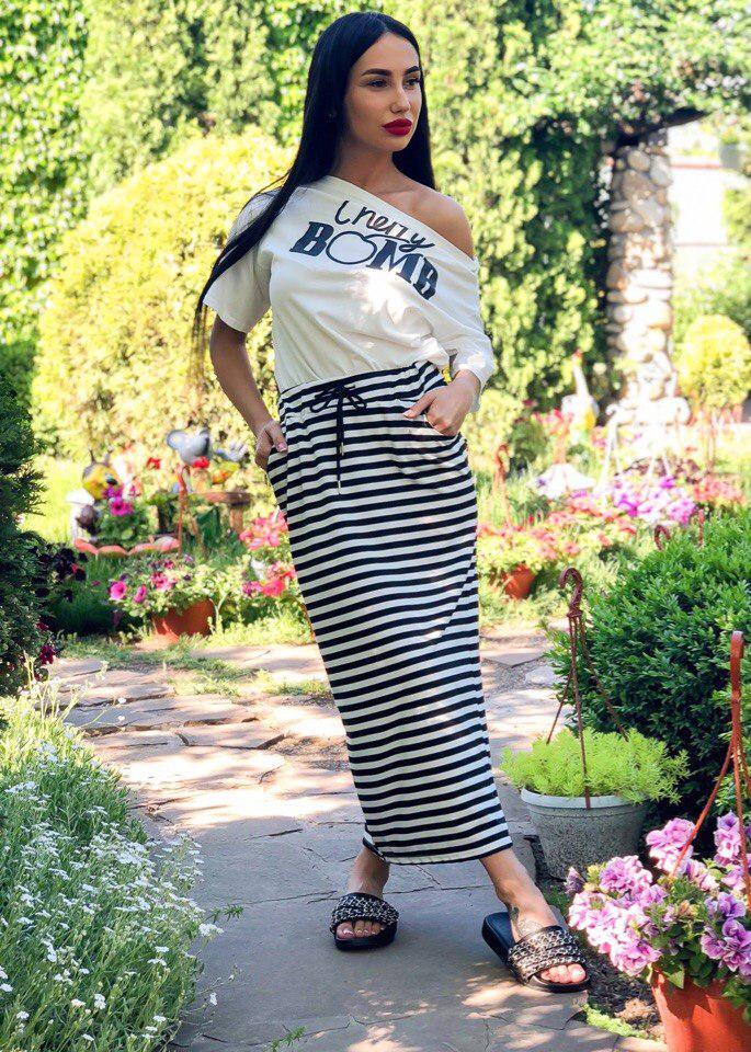 Стильный костюм кофточка и юбка в полоску