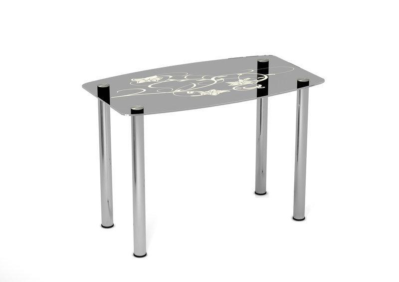 Стол обеденный стеклянный Цветочный мотив 90х65 (Sentenzo TM)