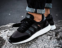 """Кроссовки мужские Adidas Iniki Runner Boost Black """"Черные с белой подошвой"""" р. 41-44, фото 1"""