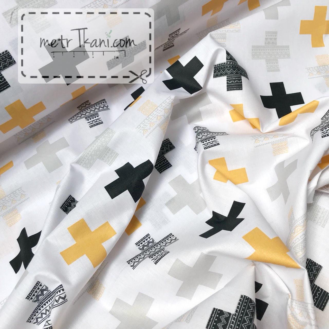 """Ткань хлопковая  темно-желтые и чёрные  """"Крестики с узором""""на белом №1034"""