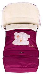 Зимний конверт Qvatro №20 с удлинением  бордо (мордочка мишки штопаная)