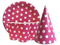 Набор посуды Горох розовый - стаканы, тарелки, колпачки