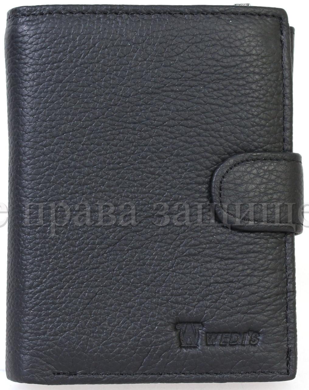 Чоловічий шкіряний гаманець чорний Wedis WEDIS-301