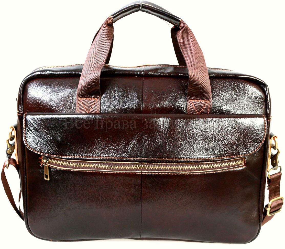 Мужской кожаный портфель кофейный (Формат: А4 и больше) NAVI NVP-0212-Cofee