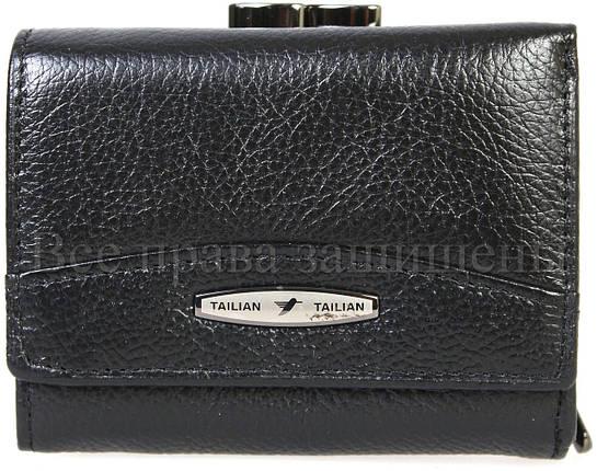 Женский кожаный кошелек черный Tailian T728-3H09-B BLACK, фото 2