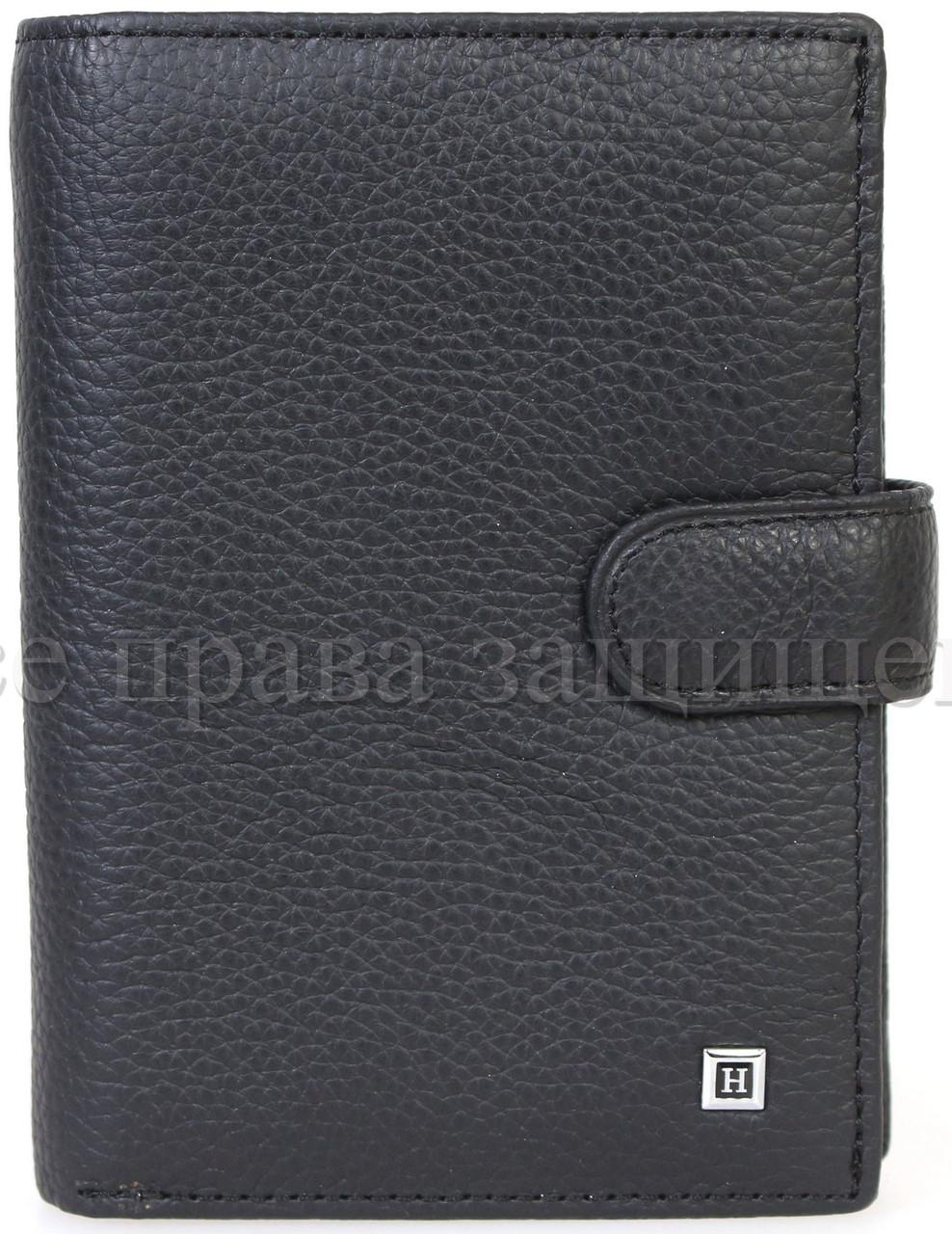 Мужской кожаный кошелек черный Horton H-M1-BLACK