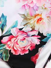 Купальник слитный бандо уплотнённая чашка  плавки слип розово-чёрный-138-11, фото 2