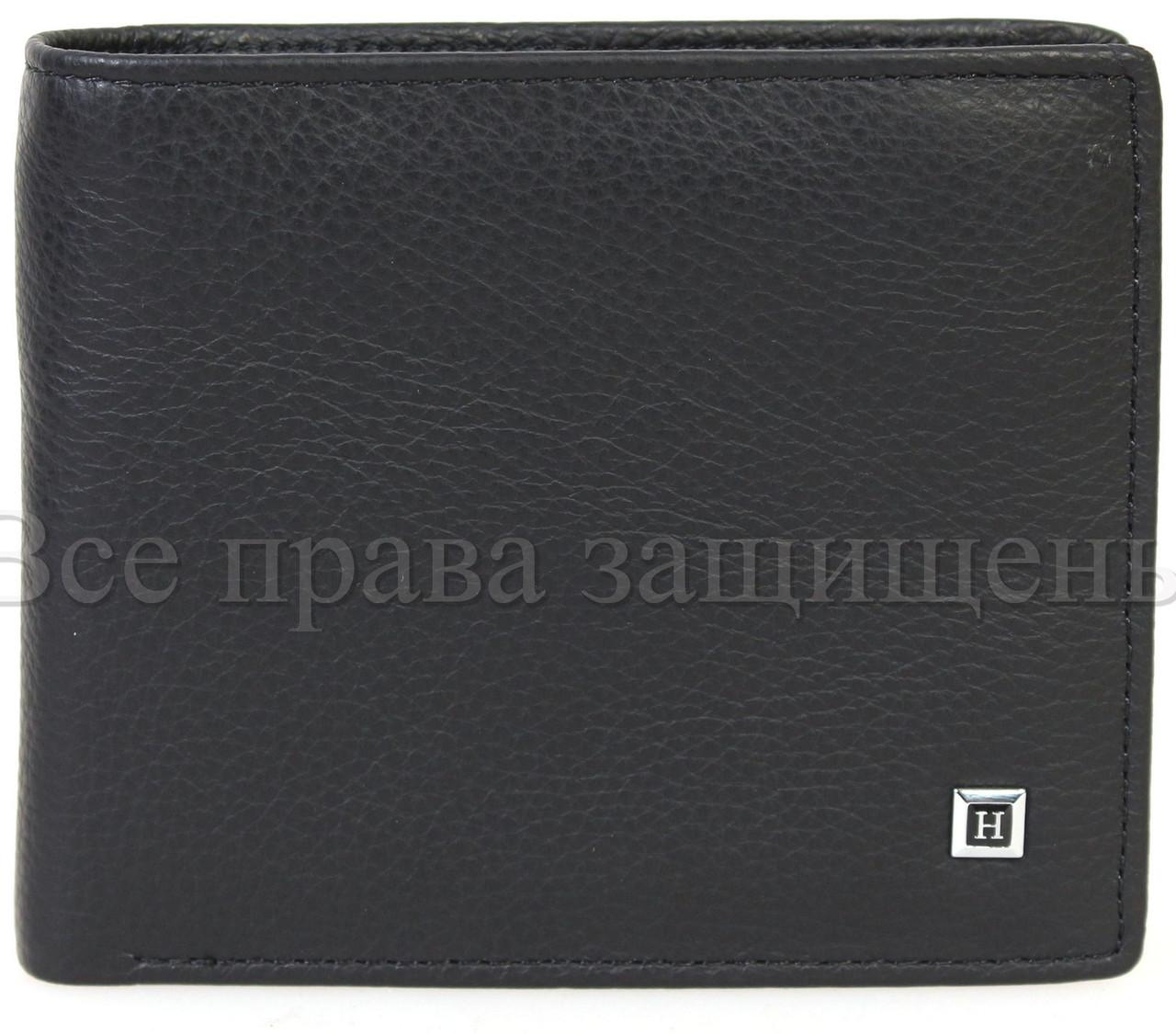 Мужской кожаный кошелек черный Horton H109BLACK