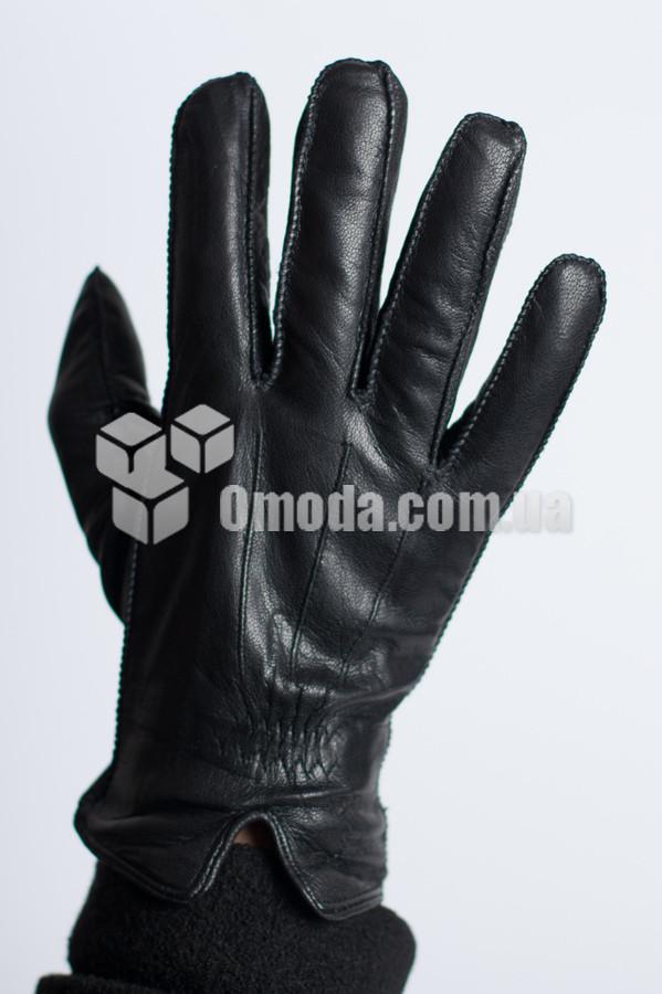 Кожаные мужские перчатки (внешн.швы, внутр.внешн.резинка, декор)
