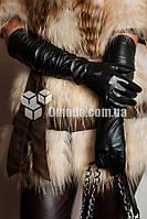 Кожаные женские перчатки длинные жатка