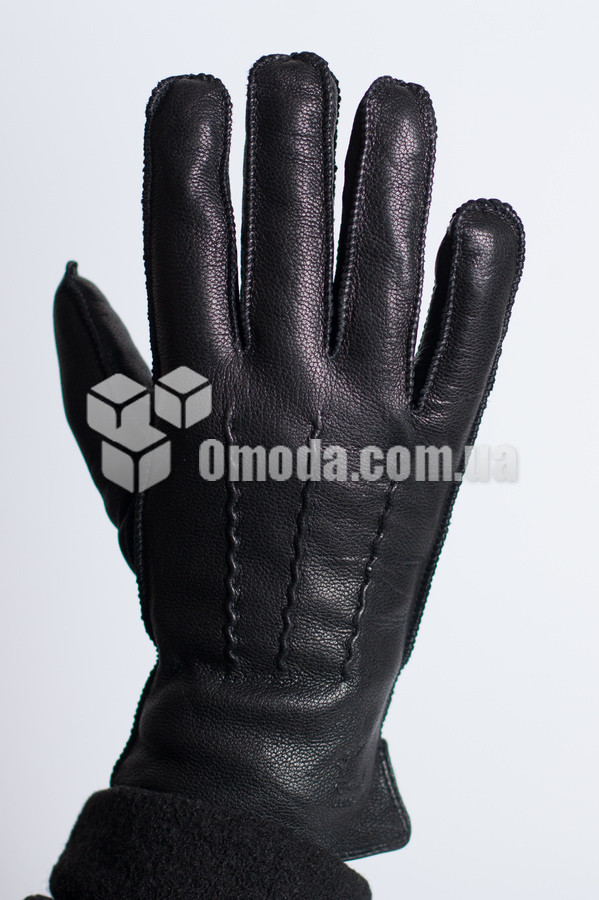 Кожаные мужские перчатки (внешн.швы, внутр.резинка, декор)