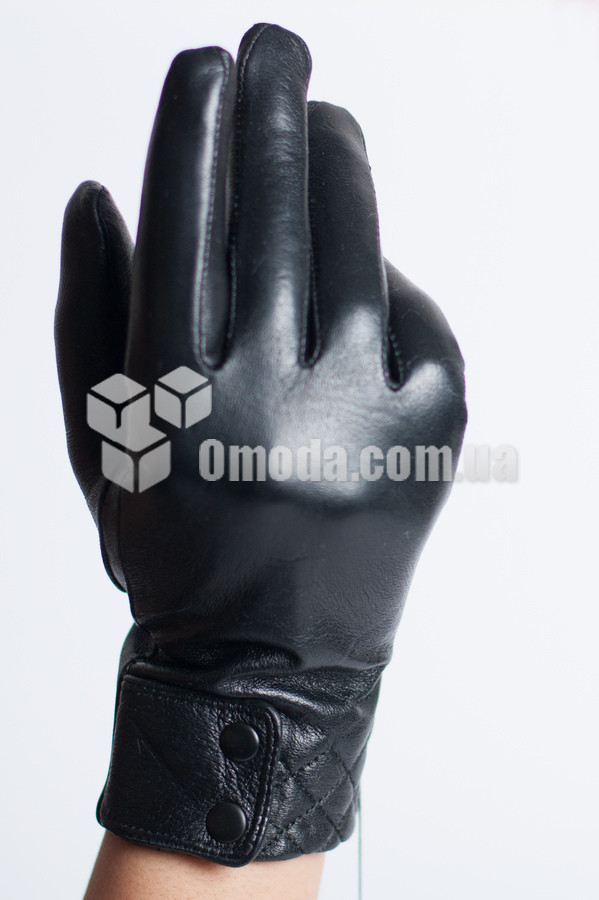 Кожаные женские перчатки ( отстроченные квадраты+полу манжет  с 2 пуговками )