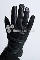 Кожаные мужские перчатки (3 двойных строчки + резинка )